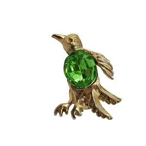 Penguin Pin Brooch Green Rhinestone Gold Tone Smal